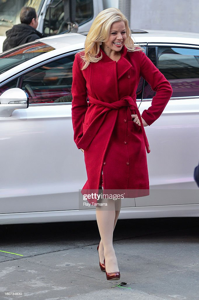 Actress Megan Hilty rehearses a scene at the 'Smash' movie set in Times Square on February 4, 2013 in New York City.