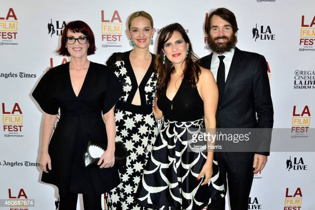 Actress Megan Mullally filmmakers/actresses Jess Weixler and Jennifer Prediger and actor Will Forte attend the premiere of 'Trouble Dolls' during the...