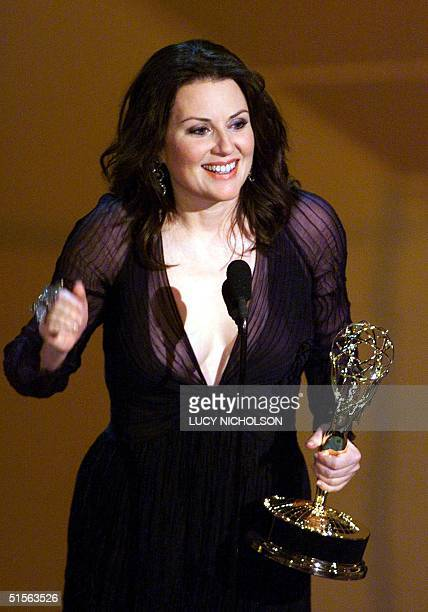 Actress Megan Mullally holds her trophy for 'Supporting Actress in a Comedy Series' for her role in 'Will and Grace' during the 52nd Annual Primetime...