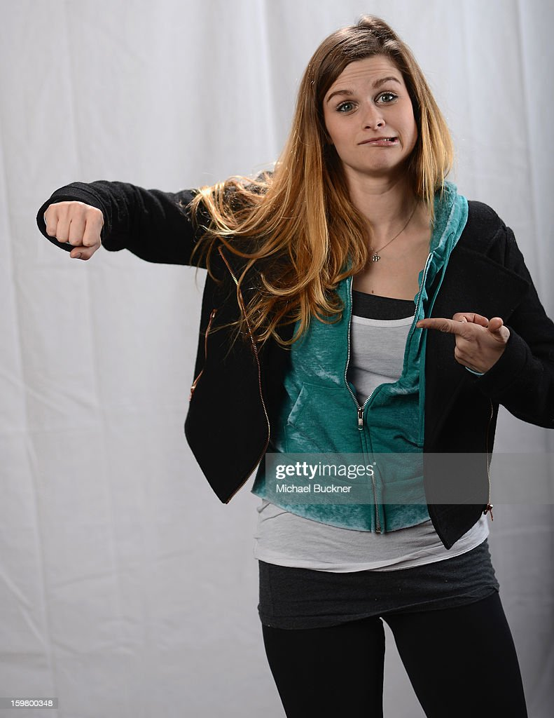 Actress Meghan Falcone poses for a portrait at the photo booth for MSN Wonderwall at ChefDance on January 20, 2013 in Park City, Utah.