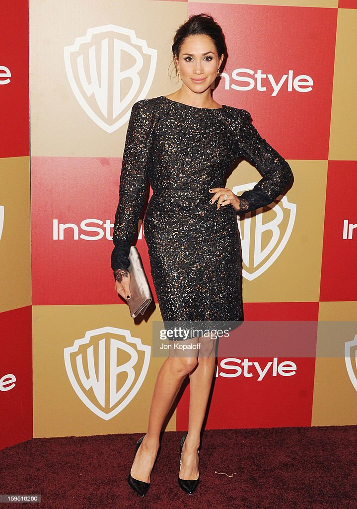 Actress Meghan Markle arrives at the InStyle And Warner Bros. Golden Globe Party at The Beverly Hilton Hotel on January 13, 2013 in Beverly Hills, California.