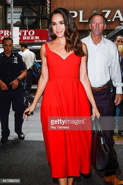 Actress Meghan Markle enters the 'Today Show' taping at NBC Rockefeller Center Studios on July 14 2016 in New York City