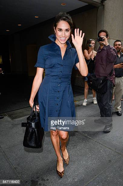 Actress Meghan Markle leaves the 'Today Show' taping at NBC Rockefeller Center Studios on July 13 2016 in New York City