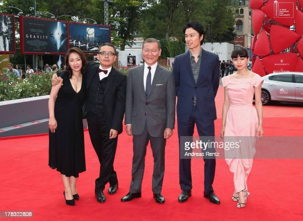Actress Megumi Kagurazaka director Sion Sono actors Jun Kunimura Hiroki Hasegawa and Fumi Nikaido attend 'Why Don't You Play In Hell' premiere during...