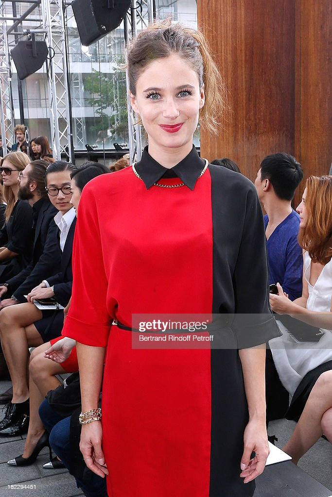 Actress Melanie Bernier attends Maxime Simoens show as part of the Paris Fashion Week Womenswear Spring/Summer 2014, held at Orangerie du parc Andre Citroen on September 29, 2013 in Paris, France.