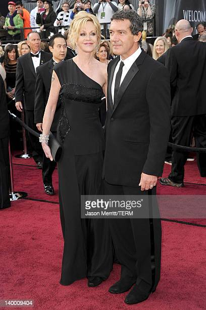 Actress Melanie Griffith and actor Antonio Banderas arrive at the 84th Annual Academy Awards held at the Hollywood Highland Center on February 26...