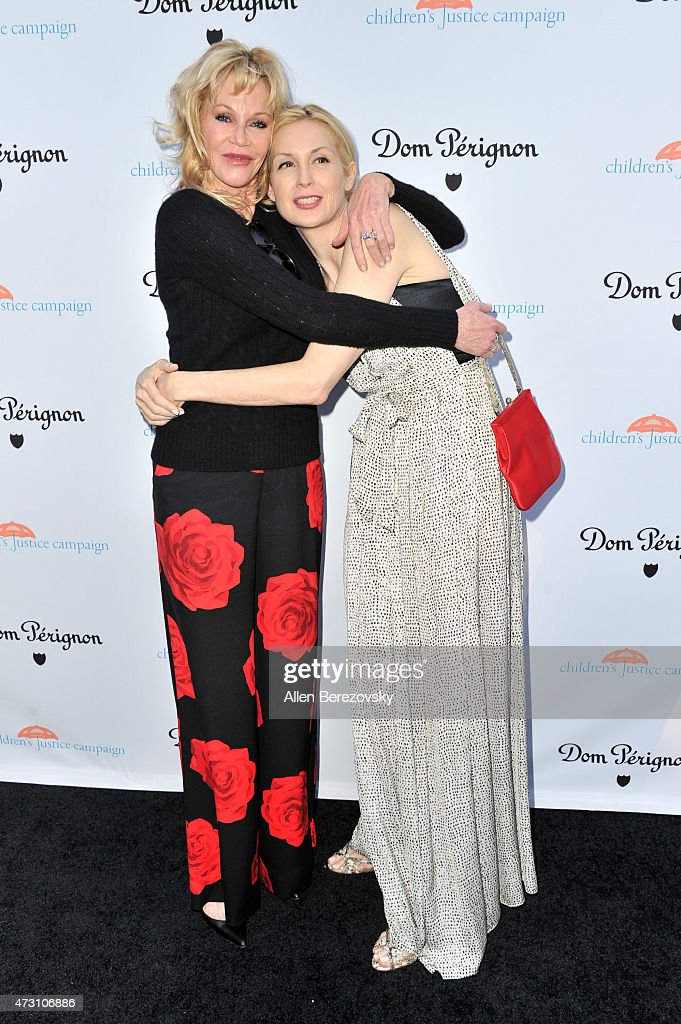 Actress Melanie Griffith (L) and actress Kelly Rutherford attend Children's Justice Campaign Event on May 12, 2015 in Beverly Hills, California.