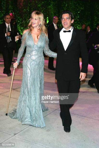 Actress Melanie Griffith and husband Antonio Banderas arrive at the Vanity Fair Oscar Party at Mortons on February 27 2005 in West Hollywood...