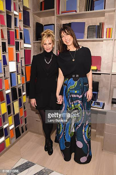 Actress Melanie Griffith and Smythson Creative Consultant Samantha Cameron attends Smythson's Madison Avenue Grand Opening Event on March 14 2016 in...