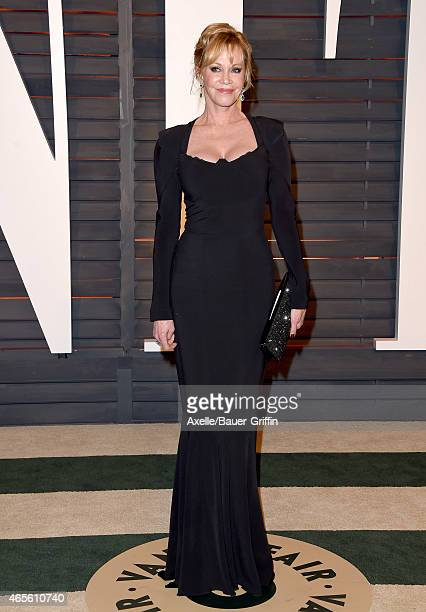 Actress Melanie Griffith arrives at the 2015 Vanity Fair Oscar Party Hosted By Graydon Carter at Wallis Annenberg Center for the Performing Arts on...