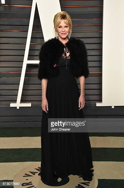 Actress Melanie Griffith arrives at the 2016 Vanity Fair Oscar Party Hosted By Graydon Carter at Wallis Annenberg Center for the Performing Arts on...