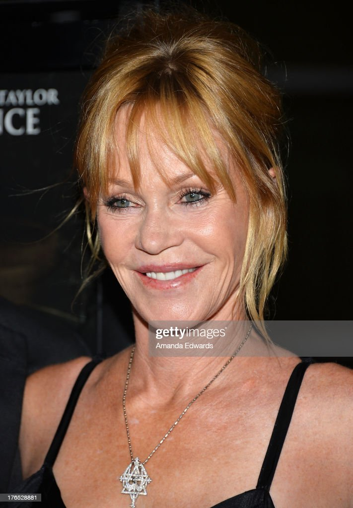 Actress <a gi-track='captionPersonalityLinkClicked' href=/galleries/search?phrase=Melanie+Griffith&family=editorial&specificpeople=171682 ng-click='$event.stopPropagation()'>Melanie Griffith</a> arrives at the premiere of 'Dark Tourist' at ArcLight Hollywood on August 14, 2013 in Hollywood, California.