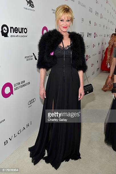 Actress Melanie Griffith attends Neuro at the 24th Annual Elton John AIDS Foundation's Oscar Viewing Party at The City of West Hollywood Park on...