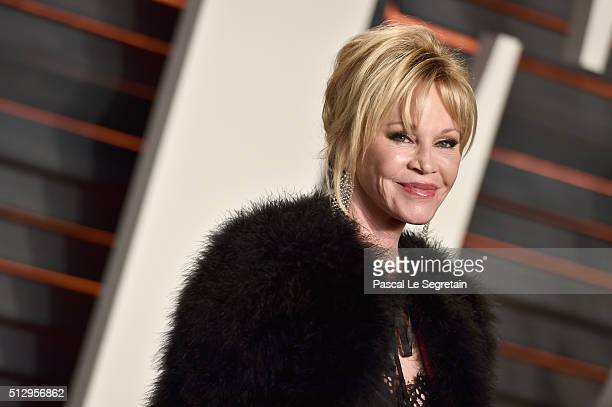 Actress Melanie Griffith attends the 2016 Vanity Fair Oscar Party Hosted By Graydon Carter at the Wallis Annenberg Center for the Performing Arts on...
