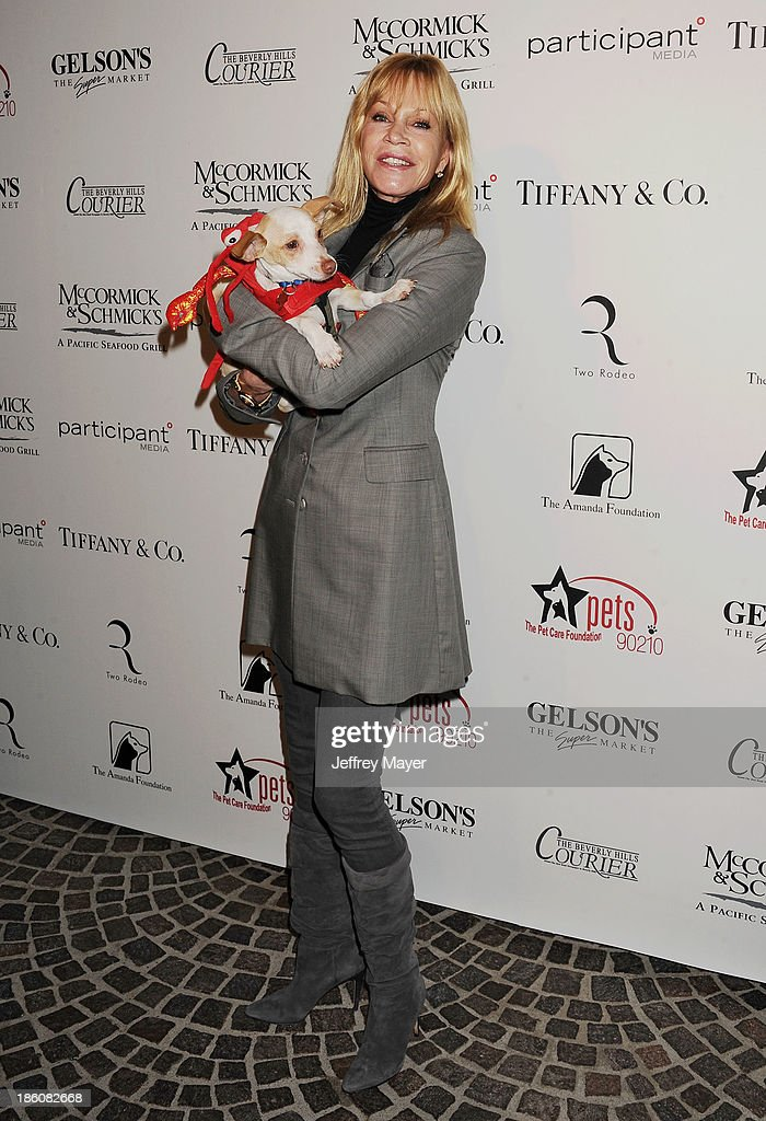 Actress <a gi-track='captionPersonalityLinkClicked' href=/galleries/search?phrase=Melanie+Griffith&family=editorial&specificpeople=171682 ng-click='$event.stopPropagation()'>Melanie Griffith</a> attends the Amanda Foundation's Annual Bow Wow Beverly Hills Halloween event at Two Rodeo on October 27, 2013 in Beverly Hills, California.