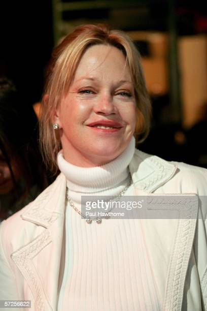Actress Melanie Griffith watches her husband actor Antonio Banderas as he appears on MTV's Total Request Live at MTV's Time Square Studios April 4...