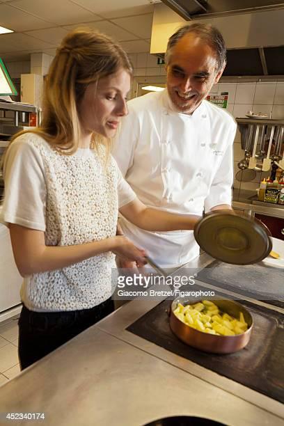 109963005 Actress Melanie Laurent is photographed with Gilles Le Gallès the chef at Jardins Sauvages the restaurant at La Grée des Landes EcoHôtelSpa...