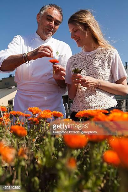 109963029 Actress Melanie Laurent is photographed with Gilles Le Gallès the chef at Jardins Sauvages the restaurant at La Grée des Landes EcoHôtelSpa...