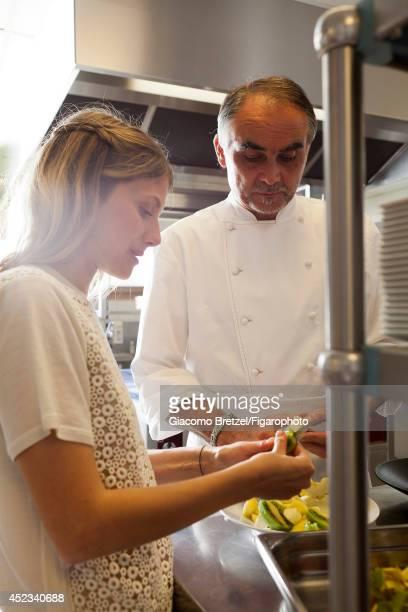 109963022 Actress Melanie Laurent is photographed with Gilles Le Gallès the chef at Jardins Sauvages the restaurant at La Grée des Landes EcoHôtelSpa...