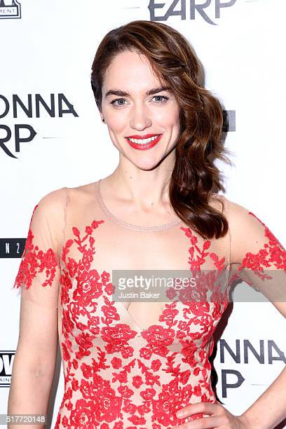 Actress Melanie Scrofano attends the premiere of Syfy's 'Wynonna Earp' at WonderCon 2016 at Regal LA Live Stadium 14 on March 26 2016 in Los Angeles...