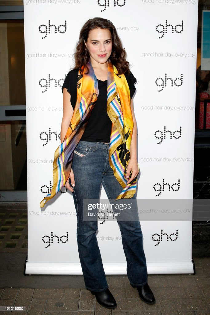 Actress Melia Kreiling attends ghd's exhibition of iconic beauty must-haves to celebrate the launch of ghd aura, a ground-breaking drying and styling tool on June 25, 2014 in London, England.
