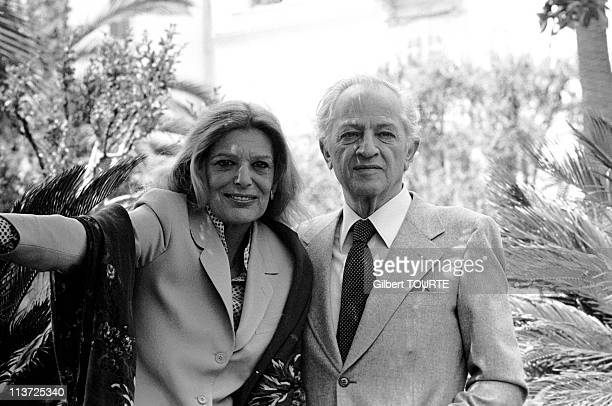 Actress Melina Mercouri and director Jules Dassin at the Cannes Film Festival during May 1978 in CannesFrance