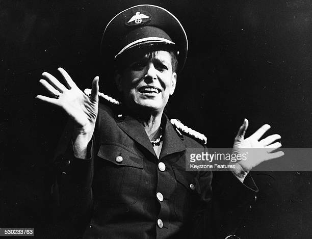 Actress Melina Mercouri performing on stage wearing a German Army uniform to celebrate the 50th anniversary of the Bertolt Brecht's works Athens...