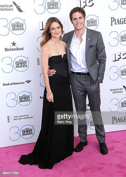 Actress Melissa Benoist and actor Blake Jenner arrive at the 2015 Film Independent Spirit Awards at Santa Monica Beach on February 21 2015 in Santa...