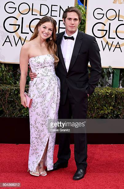Actress Melissa Benoist and actor Blake Jenner attend the 73rd Annual Golden Globe Awards held at the Beverly Hilton Hotel on January 10 2016 in...