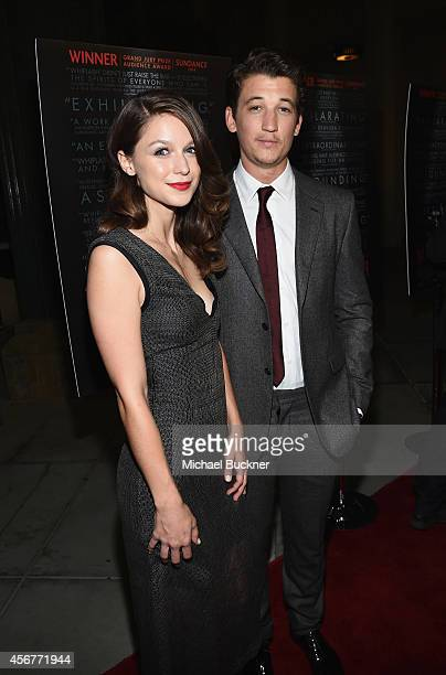 Actress Melissa Benoist and actor Miles Teller arrive at the premiere of Sony Pictures Classics' 'Whiplash' at the Bing Theatre At LACMA on October 6...