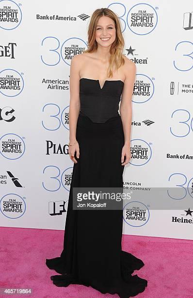 Actress Melissa Benoist arrives at the 2015 Film Independent Spirit Awards on February 21 2015 in Santa Monica California