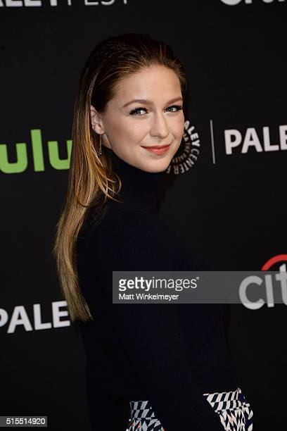 Actress Melissa Benoist arrives at The Paley Center For Media's 33rd Annual PALEYFEST Los Angeles 'Supergirl' at Dolby Theatre on March 13 2016 in...