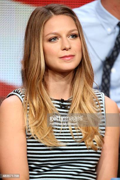 Actress Melissa Benoist speaks onstage during the 'Supergirl' panel discussion at the CBS portion of the 2015 Summer TCA Tour at The Beverly Hilton...