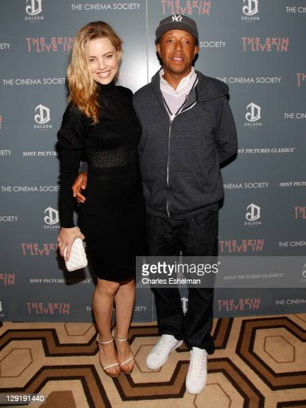 Actress Melissa George and business magnate Russell Simmons attend The Cinema Society DeLeon Tequila screening of 'The Skin I Live In' at the Tribeca...
