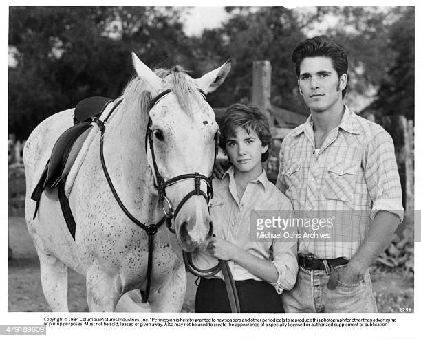 Actress Melissa Gilbert and Michael Schoeffling pose in a scene from the movie 'Sylvester' circa 1985
