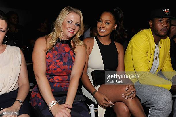 Actress Melissa Joan Hart TV personality Lala Anthony New York Knicks Carmelo Anthony attend the Nike/Levi's Kids Rock fashion show during Spring...