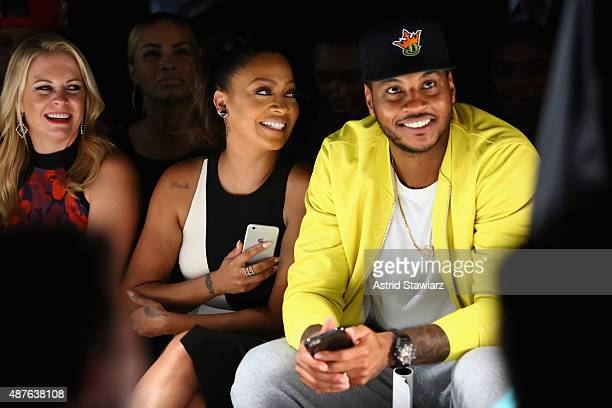 Actress Melissa Joan Hart TV personality La La Anthony and NBA player Carmelo Anthony attend the Kids Rock fashion show during Spring 2016 New York...