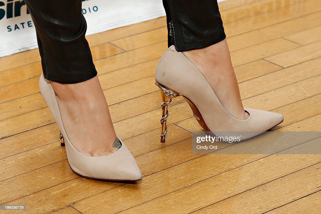 Actress Melissa Joan Hart (shoe detail) visits the SiriusXM Studios on October 30, 2013 in New York City.
