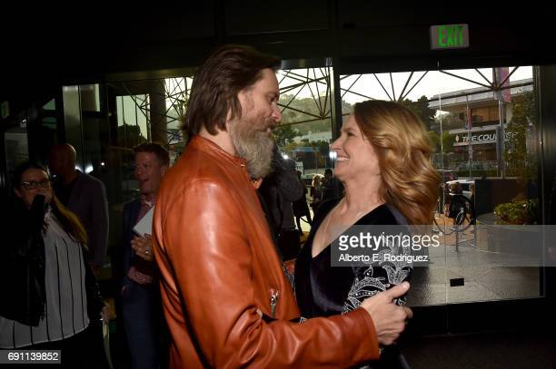 Actress Melissa Leo and executive producer Jim Carrey attend the premiere of Showtime's 'I'm Dying Up Here' at the DGA Theater on May 31 2017 in Los...