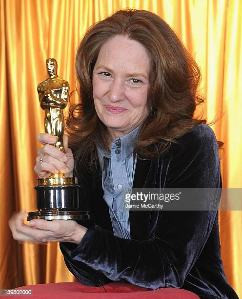 Actress Melissa Leo attends the ribbon cutting for the 84th Annual Academy Awards 'Meet The Oscars' at Grand Central Terminal on February 22 2012 in...