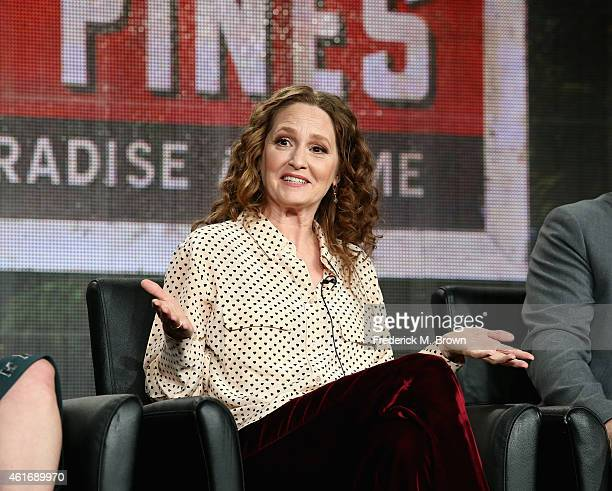 Actress Melissa Leo speaks onstage during the 'Wayward Pines' panel discussion at the FOX portion of the 2015 Winter TCA Tour at the Langham Hotel on...
