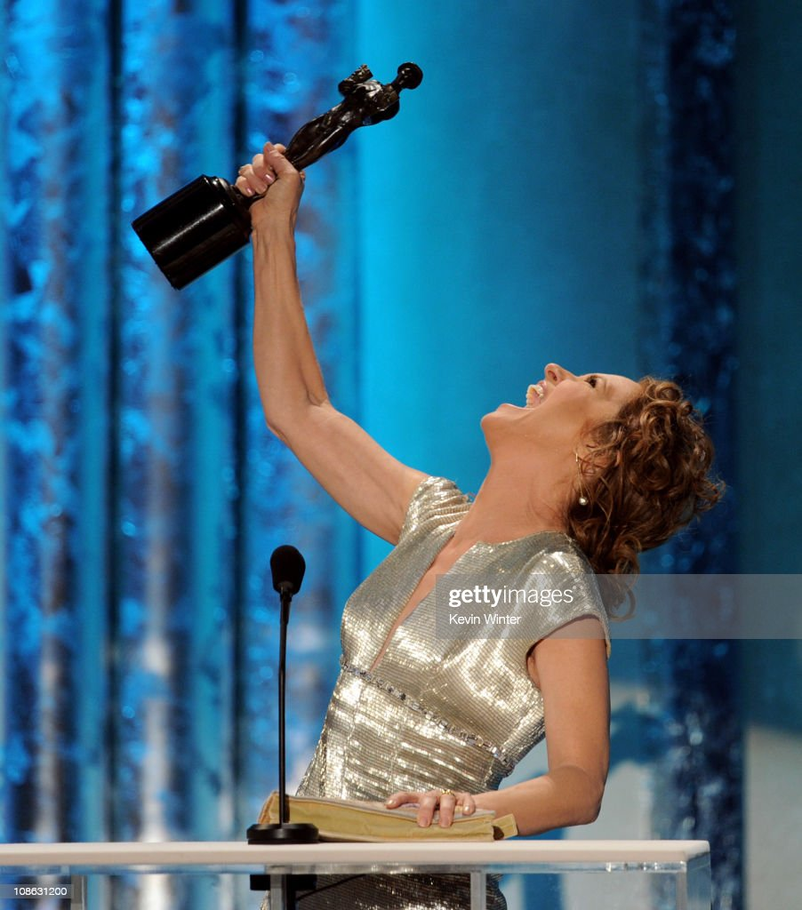 Actress Melissa Leo, winner of Outstanding Performance by a Female Actor in a Supporting Role award for 'The Fighter', speaks onstage during the 17th Annual Screen Actors Guild Awards held at The Shrine Auditorium on January 30, 2011 in Los Angeles, California.