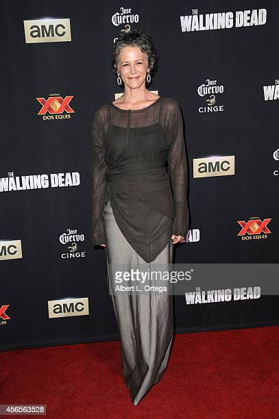 Actress Melissa McBride arrives for the Season 5 Premiere Of 'The Walking Dead' held at AMC Universal City Walk on October 2 2014 in Universal City...