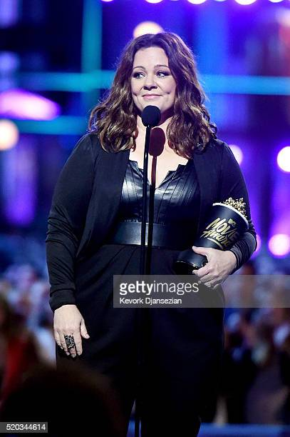 Actress Melissa McCarthy accepts the Comedic Genius Award onstage during the 2016 MTV Movie Awards at Warner Bros Studios on April 9 2016 in Burbank...
