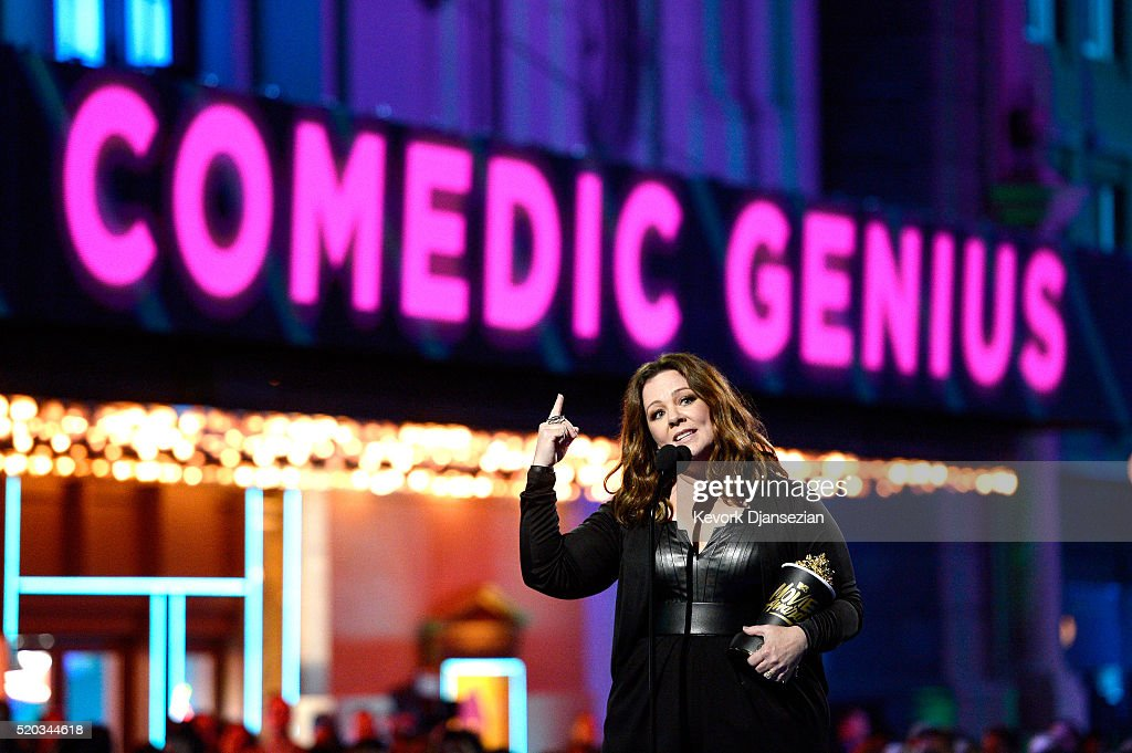 Actress Melissa McCarthy accepts the Comedic Genius Award onstage during the 2016 MTV Movie Awards at Warner Bros. Studios on April 9, 2016 in Burbank, California. MTV Movie Awards airs April 10, 2016 at 8pm ET/PT.