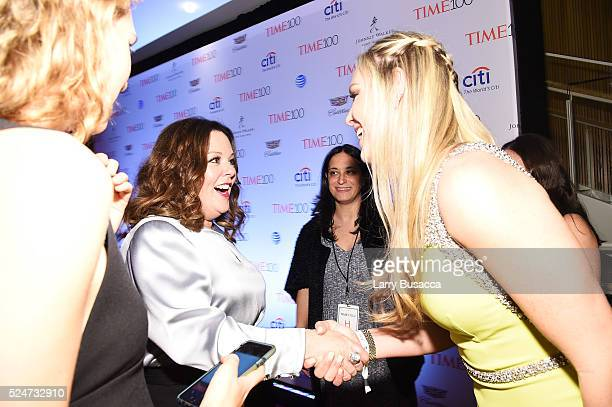 Actress Melissa McCarthy and athlete Lindsey Vonn attend 2016 Time 100 Gala Time's Most Influential People In The World red carpet at Jazz At Lincoln...