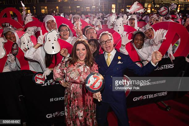 Actress Melissa McCarthy and writer/director Paul Feig attend the 'Ghostbusters' red carpet and Guinness World Record event at Marina Bay Sands on...