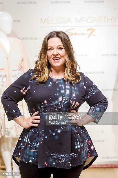 Actress Melissa McCarthy poses in one of her creations as while promoting her fashion line Melissa McCarthy Seven7 at Nordstrom Downtown Seattle on...