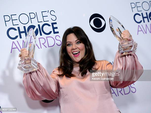Actress Melissa McCarthy poses with two People's Choice Awards in the photo room on January 6 in Los Angeles California