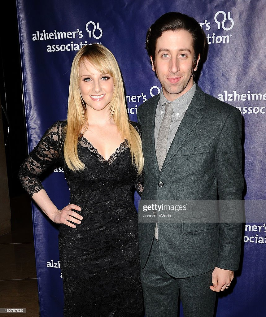Actress <a gi-track='captionPersonalityLinkClicked' href=/galleries/search?phrase=Melissa+Rauch&family=editorial&specificpeople=887562 ng-click='$event.stopPropagation()'>Melissa Rauch</a> and actor <a gi-track='captionPersonalityLinkClicked' href=/galleries/search?phrase=Simon+Helberg&family=editorial&specificpeople=3215017 ng-click='$event.stopPropagation()'>Simon Helberg</a> attend the 22nd 'A Night At Sardi's' at The Beverly Hilton Hotel on March 26, 2014 in Beverly Hills, California.